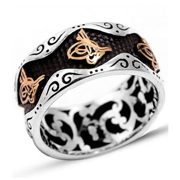 Sterling Silver Wedding Band Ring with Tughra-OTTASILVER
