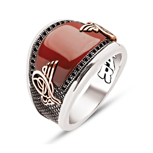 Curved Red Agate Stone Sterling Silver Mens Ring with Zircons-OTTASILVER