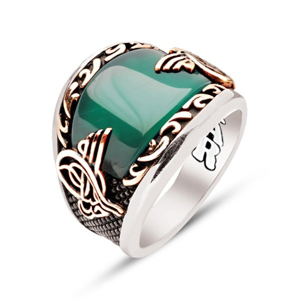 Green Agate Sterling Silver Men's Ring with Tughra-OTTASILVER