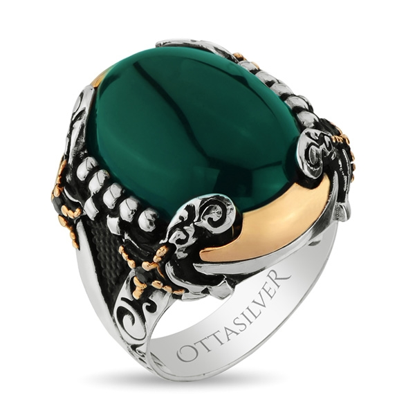 Exclusive Green Aqeeq Stone Handmade Silver Ring  with Double Swords Figure-OTTASILVER
