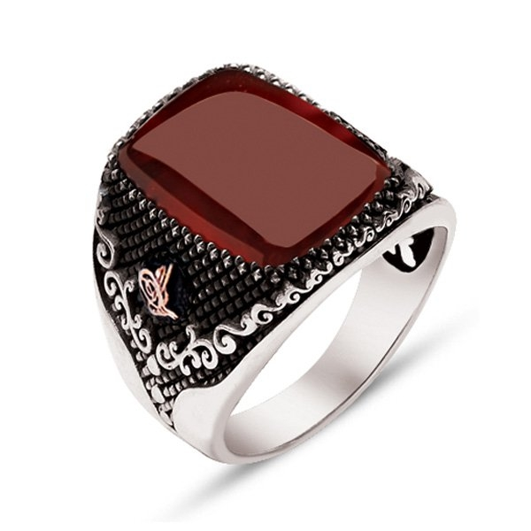 Red Agate Stone Sterling Silver Mens Ring-OTTASILVER