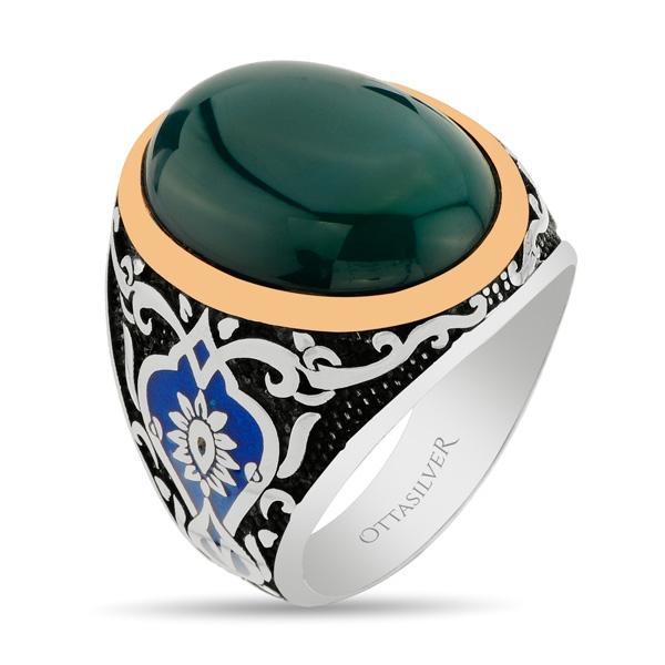 Tulip Design Green Ageeq Stone Sterling Silver Men's Ring-OTTASILVER