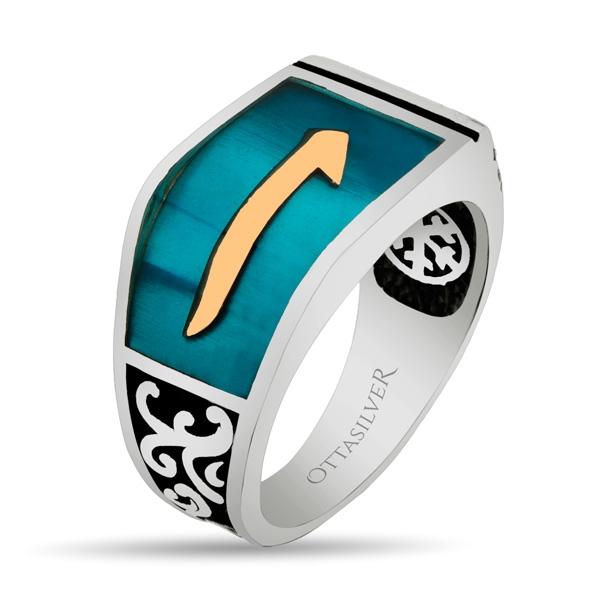 Blue Enamel Sterling Silver Men Ring with Alif-OTTASILVER