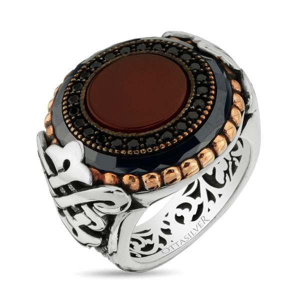 Exclusive Design Red Agate Stone Sterling Silver Men Ring-OTTASILVER