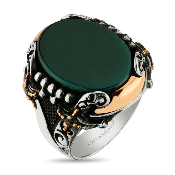 Green Agate Stone Handmade Silver Ring  with Double Swords Figure-OTTASILVER