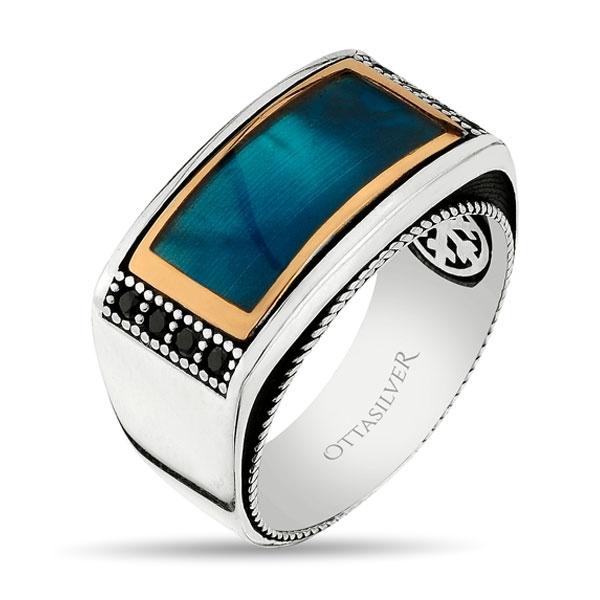 Ocean Blue Porcelain Sterling Silver Mens Ring-OTTASILVER