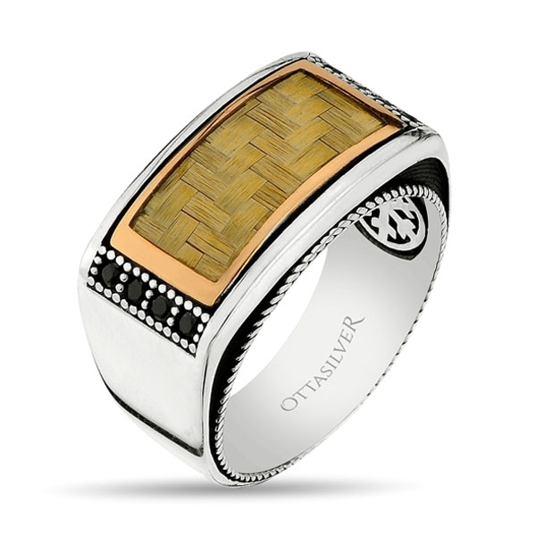 Yellow Carbon Fiber Textured Sterling Silver Mens Ring-OTTASILVER