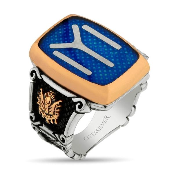 Blue Enamel Kayi Symbol Sterling Silver Men Ring-OTTASILVER