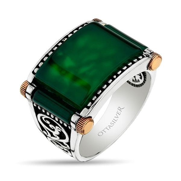 Green Agate Stone Sterling Silver Men Ring-OTTASILVER