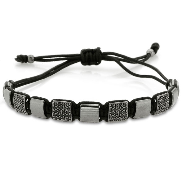 Macrame Bracelet with Silver and Hematite-OTTASILVER