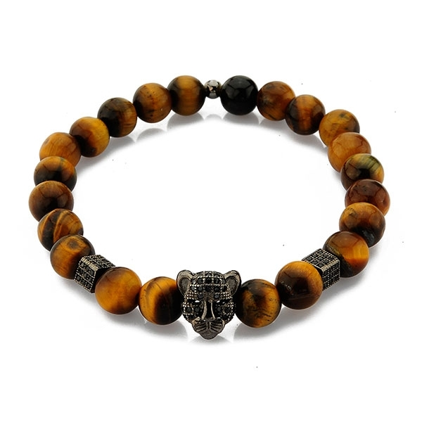 Silver Tiger Head Bracelet with Tiger Eye Beads and Zircons-OTTASILVER