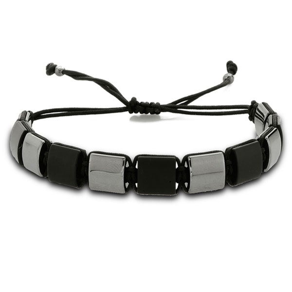 Macrame Bracelet with Onyx and Hematite-OTTASILVER