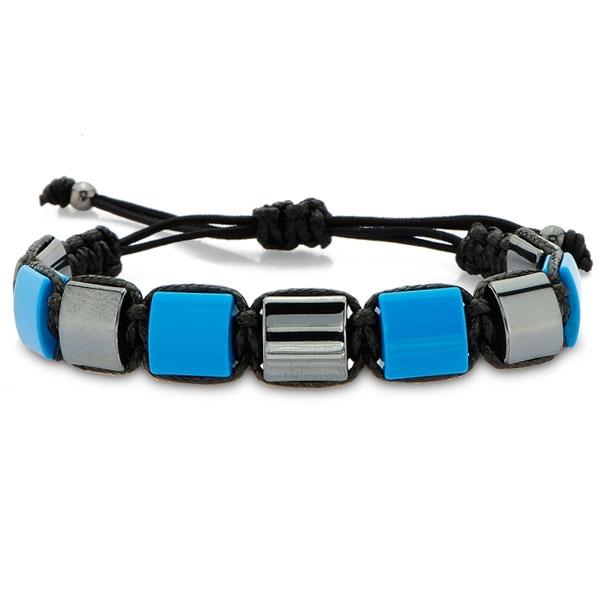 Macrame Bracelet with Turquoise and Hematite-OTTASILVER