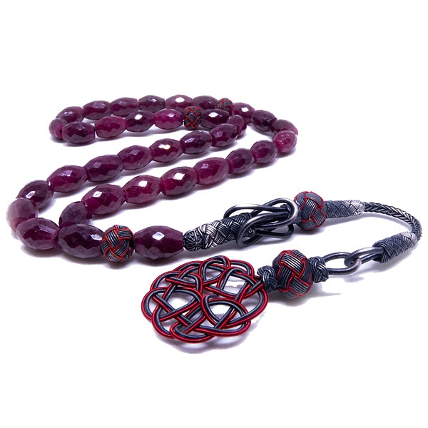 Ruby Tasbih with 999k Pure Silver Imame-OTTASILVER