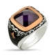 Amethyst Zircon Stone Sterling Silver Men Ring-OTTASILVER