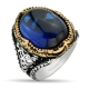 Sapphire Men Ring with Sterling Silver-OTTASILVER