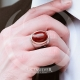 Red Aqeeq Stone Sterling Silver Mens Ring-OTTASILVER
