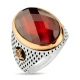 Facet Cut Red Zircon Stone Sterling Silver Mens Ring-OTTASILVER
