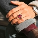 Minimalist Silver Men Ring with Red Amber Stone-OTTASILVER