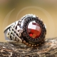 Exclusive Red Zircon Ring Surrounded by Black Zircons and Onyx-OTTASILVER