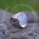 Mother of Pearl Stone Sterling Silver Men Ring-OTTASILVER