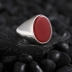 Minimal Sterling Silver Ring with Red Agate Stone-OTTASILVER