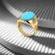 18K Gold Classic Ring with Turquoise Stone-OTTASILVER
