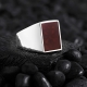 Basic Sterling Silver with Rectangle Red Agate-OTTASILVER