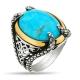 Snake Heads Turquoise Stone Sterling Silver Men Ring-OTTASILVER