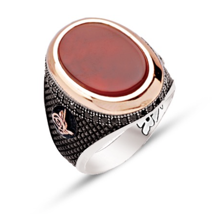 Red Agate Stone Sterling Silver Mens Ring with Zircons-OTTASILVER