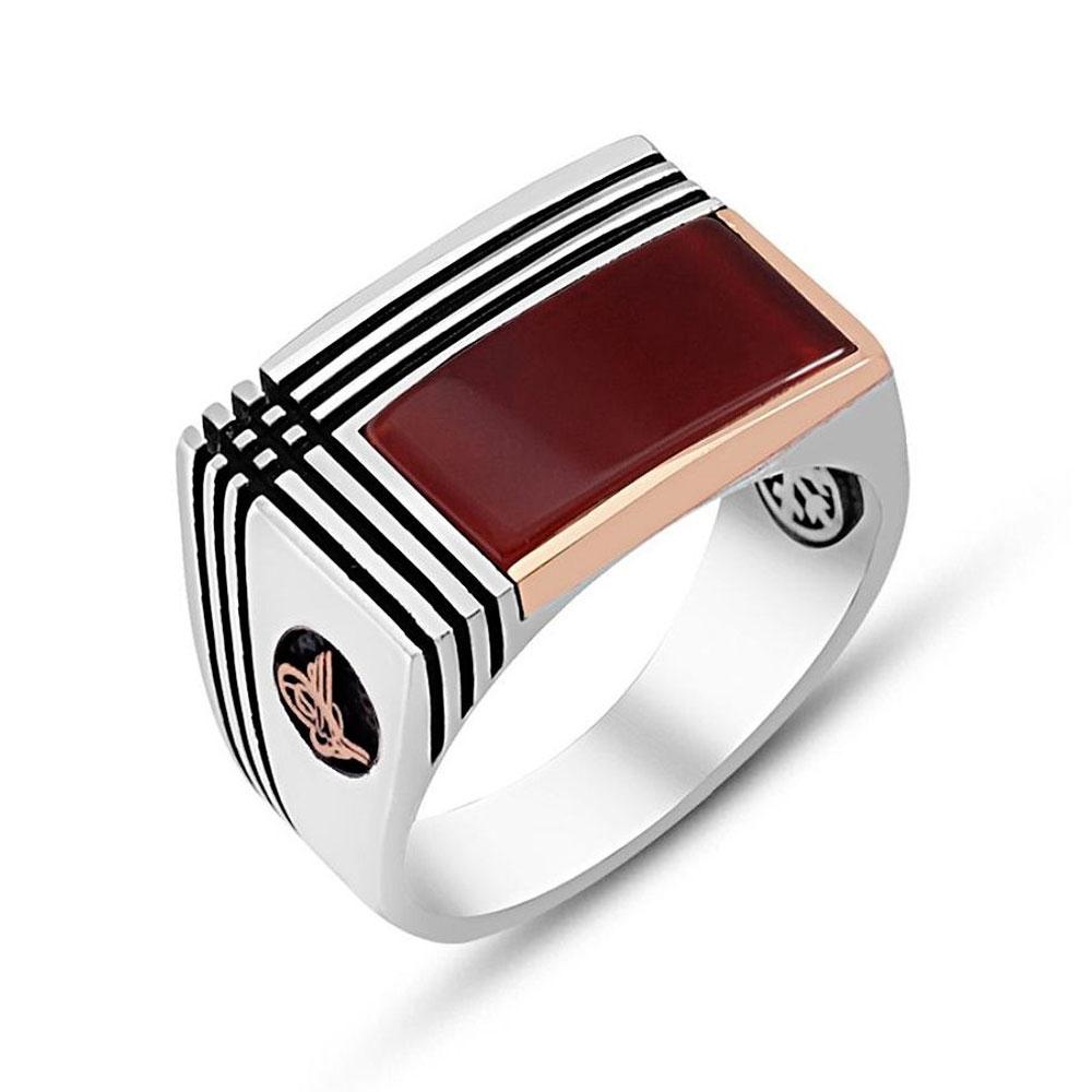 Agate Stone Sterling Silver Men Ring-OTTASILVER