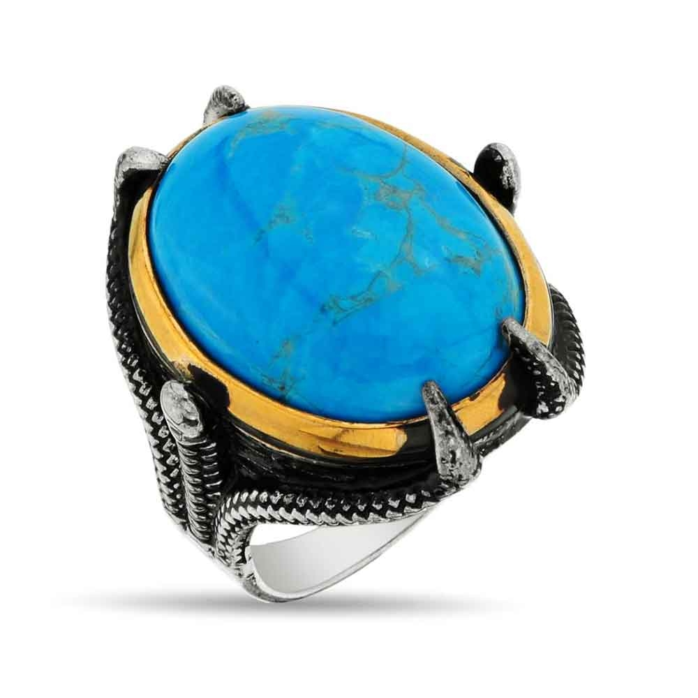 Men Ring with Turquoise Stone in Silver-OTTASILVER