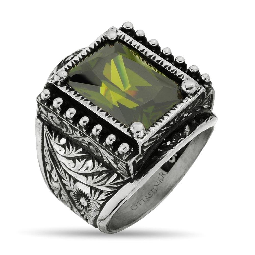 Green Zircon Silver Ring - Handmade-OTTASILVER