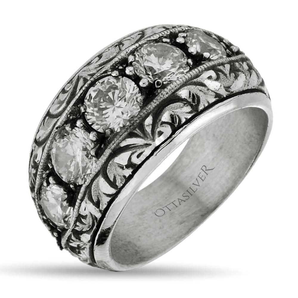 CZ Diamond Men's Band Ring - Handmade-OTTASILVER