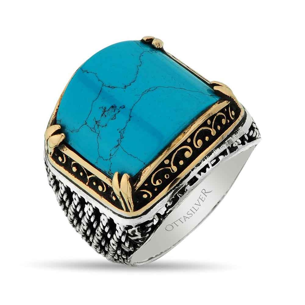 Mens Ring with Turquoise Stone in Silver-OTTASILVER