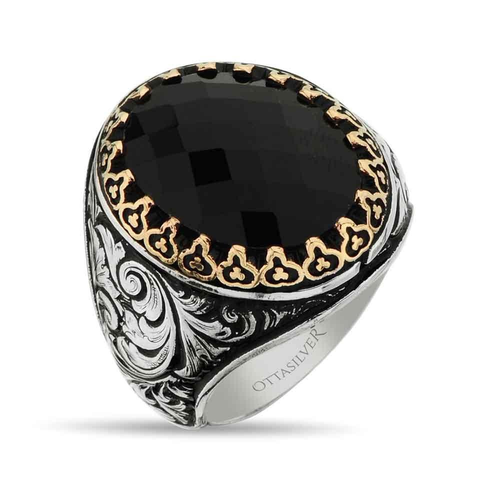 Black Facet Cut Crystal Ring for Men in Silver-OTTASILVER