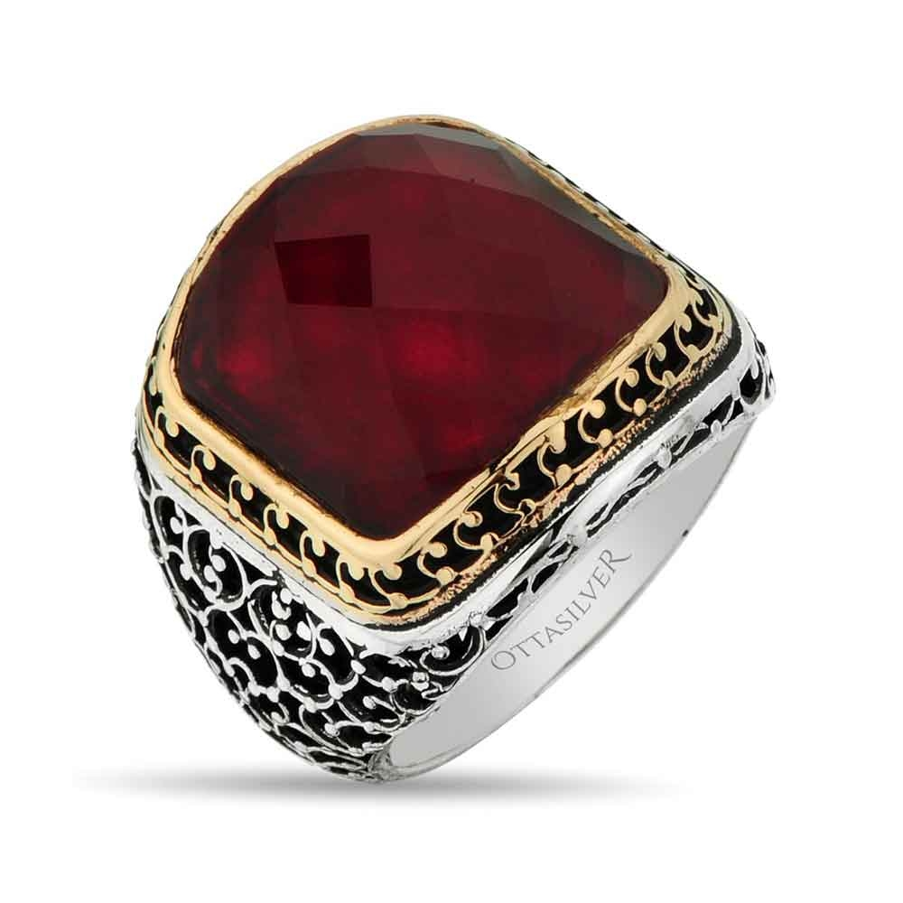 Silver Ring with Red Zircon Stone-OTTASILVER