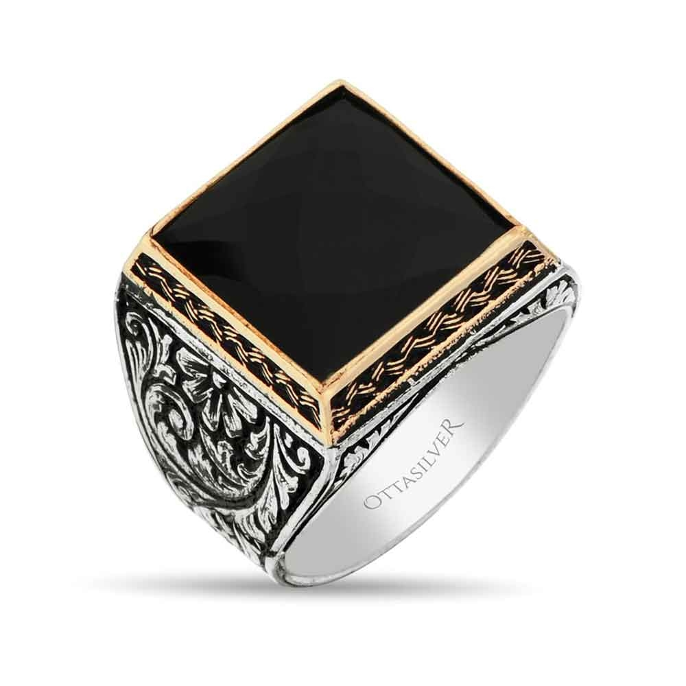 Square Silver Men Ring with Onyx Stone-OTTASILVER