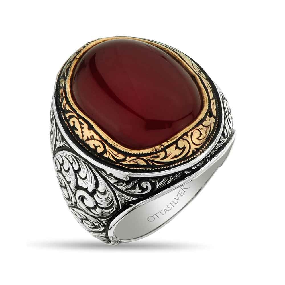 Red Agate Silver Men Ring-OTTASILVER