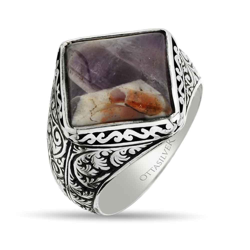 Square Men Minimal Ring with Amethyst Stone-OTTASILVER