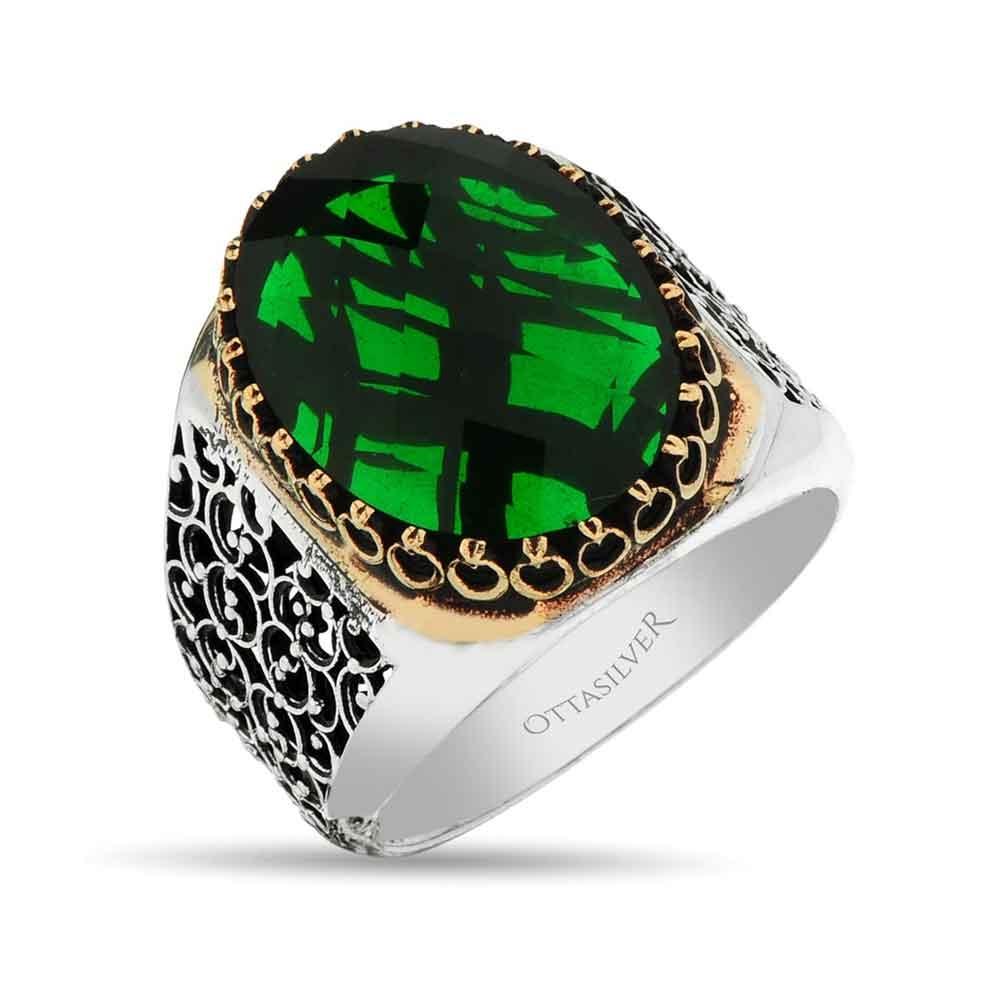 Green CZ Diamond Silver Ring-OTTASILVER
