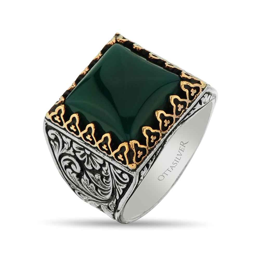 Square Men Ring in Silver with Green Agate Stone-OTTASILVER