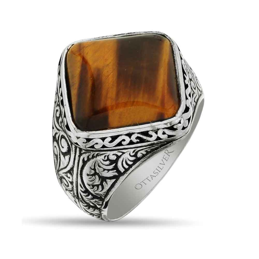 Square Silver Men Ring with Tiger Eye Stone-OTTASILVER
