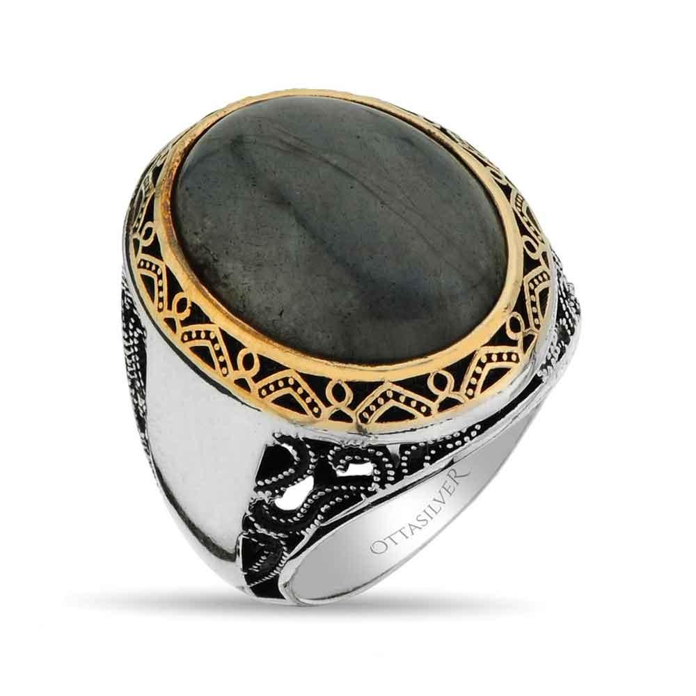 Labradorite Stone Men Ring in Silver-OTTASILVER