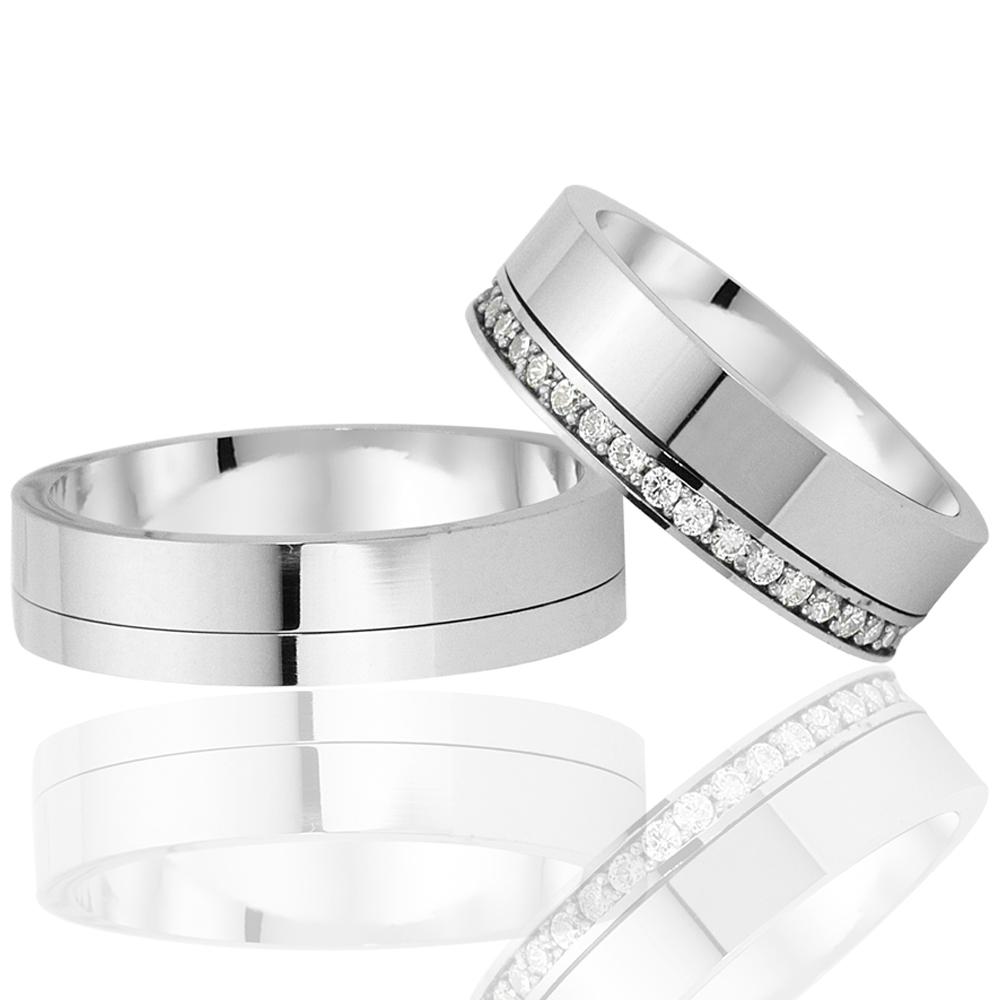 Elegant And Stylish Design Silver Wedding Ring Pair-OTTASILVER