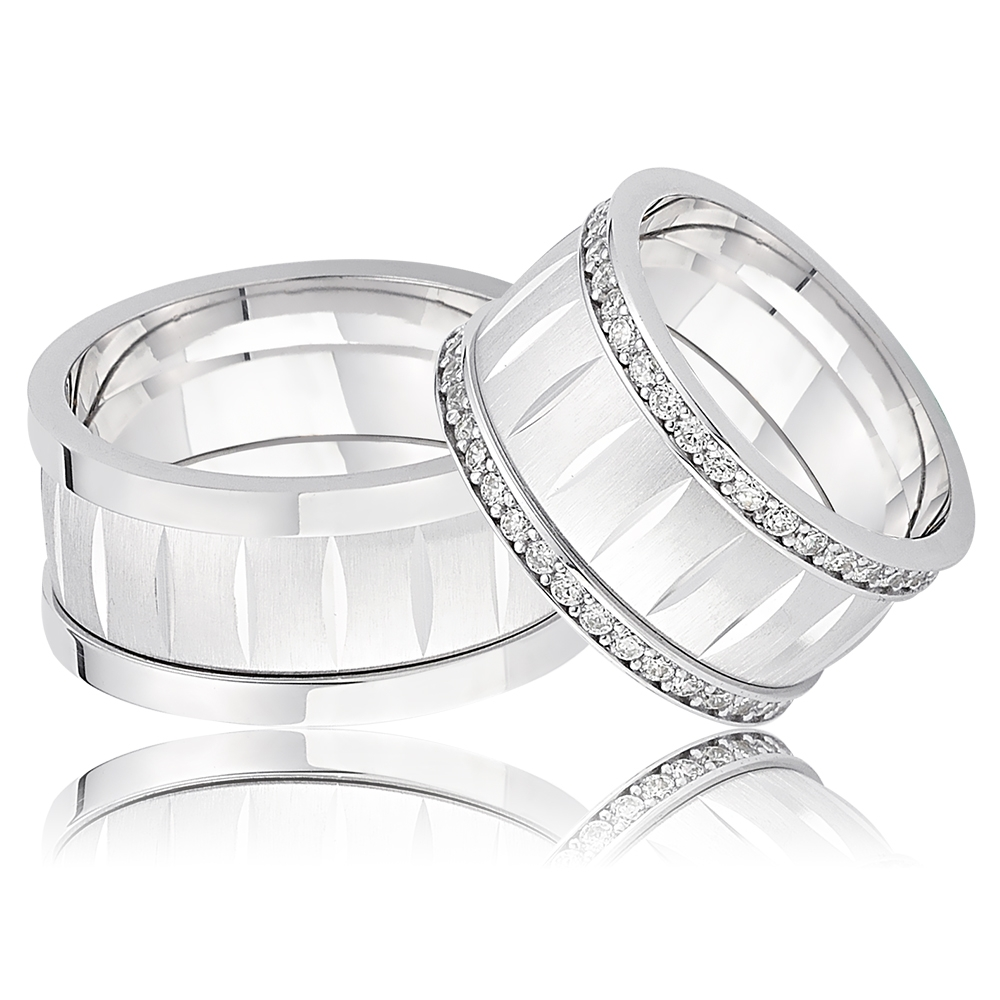 New Design Silver Wedding Band With Square Plated-OTTASILVER