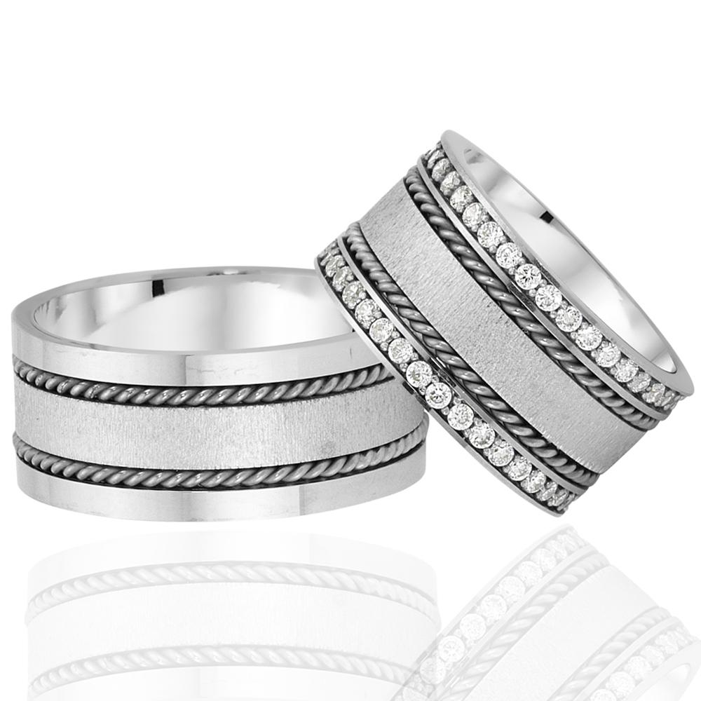 Elegant And Modern Design Rodium Plated Wedding Ring-OTTASILVER