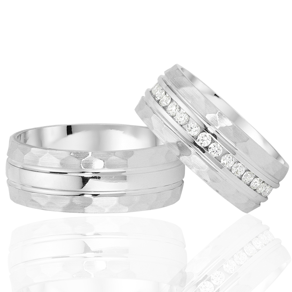 Medium Spring Foam Silver Wedding Ring Pair-OTTASILVER