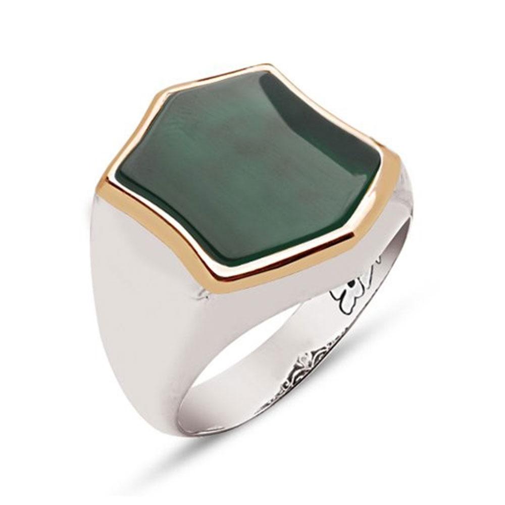 Hexagonal Green Aqeeq Stone Handmade Silver Ring-OTTASILVER