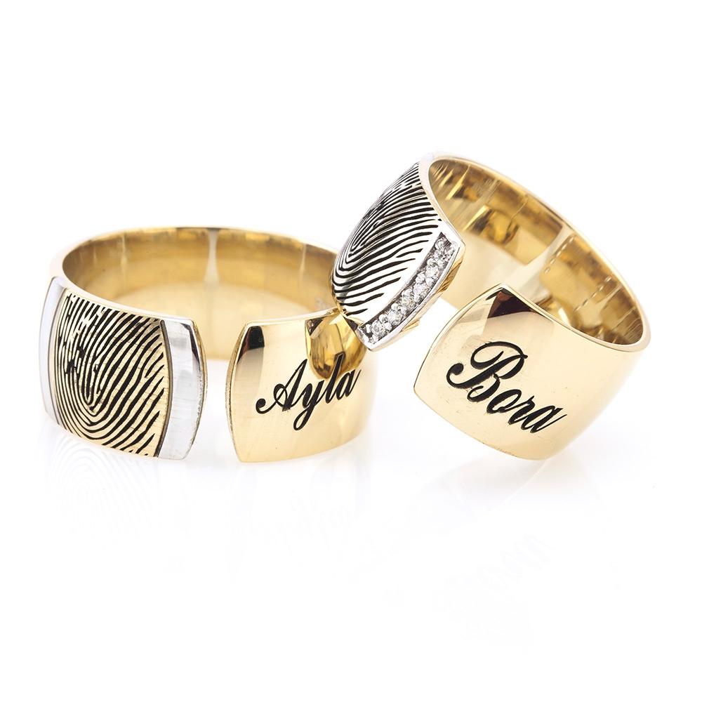 Fingerprint Gold Plated Named Wedding Ring Pair-OTTASILVER